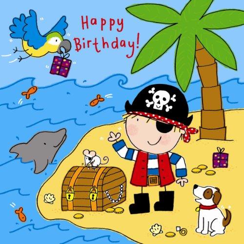 Twizler Geburtstagskarte für Jungen mit Piraten-, Papagei-, Hunde- und Swarovski-Kristall-Finish – Kinder-Geburtstagskarte – Geburtstagskarte für Jungen