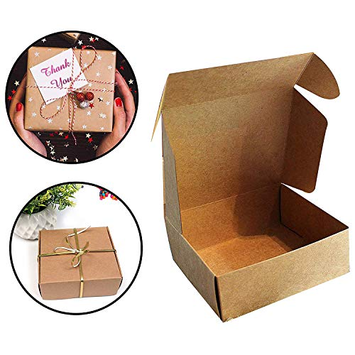 Kurtzy Kraft Geschenkboxen (10 Stück) - 13x12x5cm Kraft Braune Boxen Geeignet für Party Geschenke