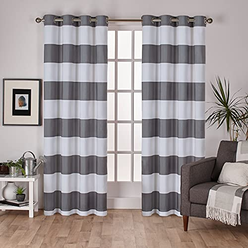 Exclusive Home Curtains Surfside Cabana Stripe Cotton Grommet Top Curtain Panel Pair, 54x84, Black Pearl, 2 Count