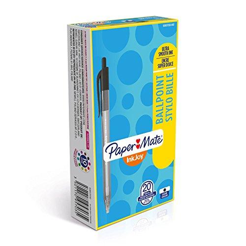 Papermate InkJoy 100 Penna a Sfera a Scatto, Punta Media da 1.0 mm, Confezione da 20, Nero