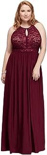 Lace Keyhole Tie Back Plus Size Halter Dress Style 12089DW