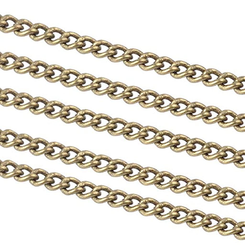ARRICRAFT 10m Brass Cross Chains Twisted Chains Curb Chains for Jewelry Making and Decoration, 2x1.5x1mm