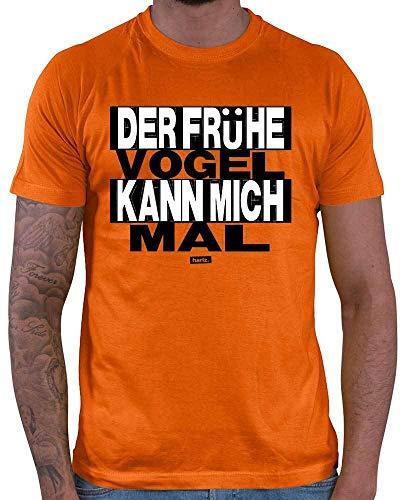 HARIZ Herren T-Shirt Der Frühe Vogel Kann Mich Mal Sprüche Schwarz Weiß Plus Geschenkkarte Orange XL