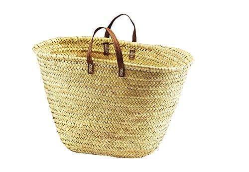Tasche Korbtasche Strandtasche - Palmblatt - Echt Ledergriffen