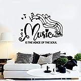 Etiqueta de la pared palabra corta nota de voz Clef corazón música escuela concierto dormitorio decoración interior vinilo ventana pegatina texto mural
