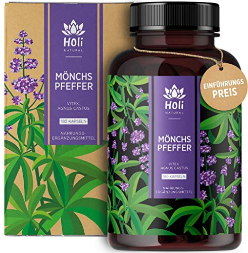 Holi Natural® Mönchspfeffer Extrakt | 180 Kapseln vegan | 30mg je Tagesdosis | ECHTE Vitex Agnus Castus hochdosiert | Tradition ohne Zusatzstoffe & Laborgeprüft