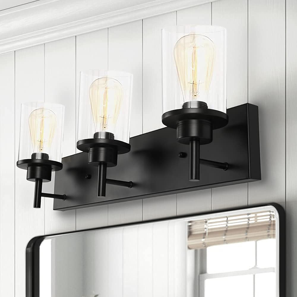Buy 3 Light Bathroom Vanity Light Matte Black Wall Light Fixture Rustic Wall Sconce Lighting With Clear Glass Shade Industrial Vintage Lighting Fixture For Bathroom Kitchen Porch Bedroom Living Room Online In Germany