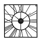 Home Collection Hogar Muebles Accesorios Decoración Reloj Cuadrado de Pared con Estructura de Diseño Moderno 50x50x3cm