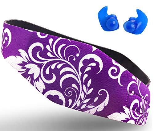 Cinta de natación diseñada para ayudar a prevenir los oídos de nadador, protector de orejas, evita la entrada de agua y mantiene los tapones de los oídos, banda impermeable, Violet L