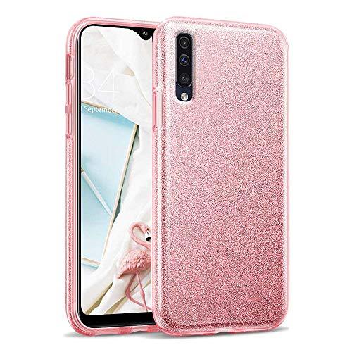 Compatibile con Xiaomi Mi 9 Lite Cover, Glitter Bordo Lusso Strass Diamante Bling Diamanti Custodia Ultrasottile Ultralight Morbido Silicone TPU e Hard PC Protezione - Rosa
