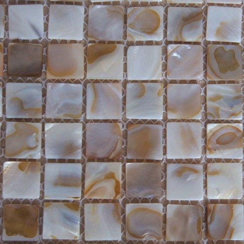 Piastrelle a mosaico in madreperla naturale, perle di fiume, per spa, piscine, pareti del bagno e della cucina, 1 piastrella