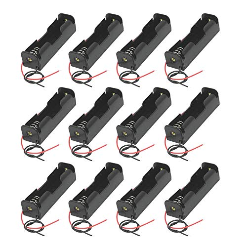 GTIWUNG 12 Stück 3.7V 18650 Batteriehalter Gehäuse Kunststoff Akku Aufbewahrungsbox mit Wire Leads(Single Slot) für Einfaches Löten und Anschließen