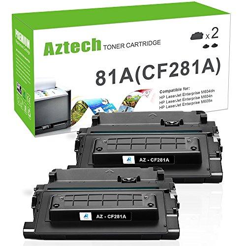 Aztech Compatible Toner Cartridge Replacement for HP 81A CF281A 81X CF281X Laserjet Enterprise MFP M605 M604 Toner M604N M604DN M605N M605DN M605X M630 M606 M630h M630dn M630z Printer (Black, 2-Pack)