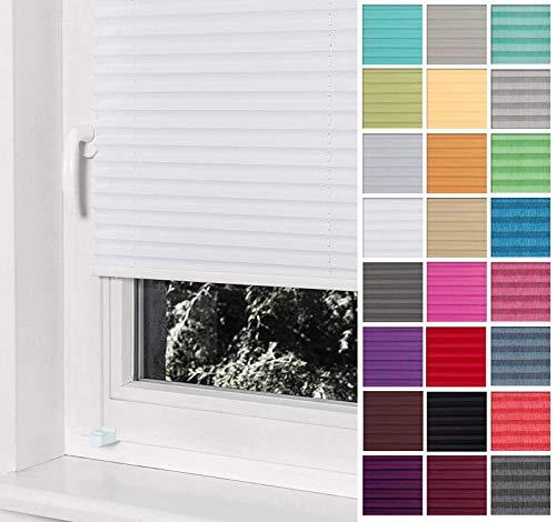 Home-Vision® Premium Plissee Faltrollo ohne Bohren mit Klemmträger / -fix (Weiß, B130cm x H120cm) Blickdicht Sonnenschutz Jalousie für Fenster & Tür