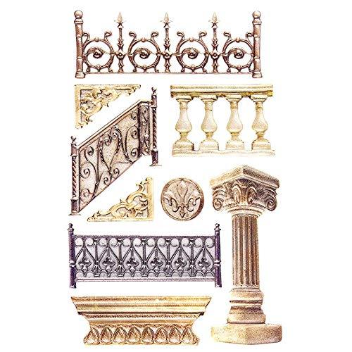 Sticker | Aufkleber | Abziehbilder | Stickerbögen mit diversen Motiven, Bogengröße 15 x 10 cm (Säulen & Zäune)