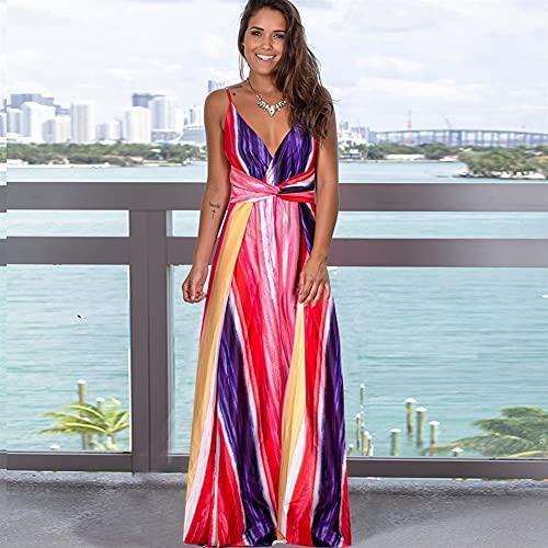 Damskie damskie Długie sukienki Lato Boho V-Neck Bez Rękawów Party Beach Floarl Drukuj Casual Sundress (Color : H, Size : XX-Large)