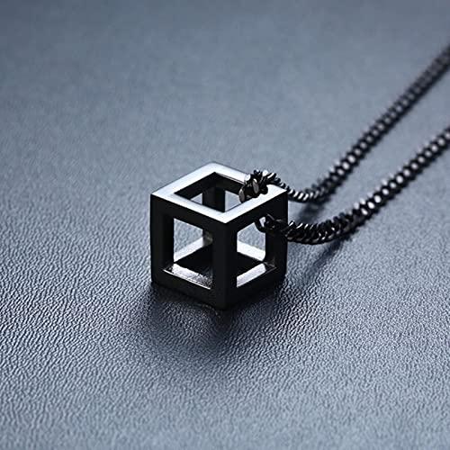 DALIU Collares geométricos para Hombre, Colgante Triangular Hueco, Minimalista, Metal, Acero Inoxidable, Collar Informal Simple para Hombre, joyería