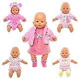 Miunana 5 Vestidos Verano Casual Ropas para 14- 18 Pulgadas Muñeca bebé Baby Dolls