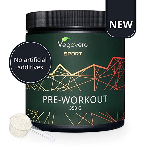 Pre Workout Booster Vegavero® | Sans Additif | 350g | Training Homme – Femme | BCAA + AAKG + Beta-Alanine + Rhodiola + Caféine + Vitamines B | Testé en Laboratoire | Arôme Naturel d'Orange | VEGAN