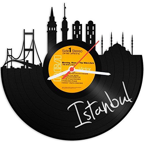 GRAVURZEILE Wanduhr aus Vinyl Schallplattenuhr Skyline Istanbul Design Uhr Wand-Deko Vintage-Uhr Wand-Dekoration Retro-Uhr Made in Germany