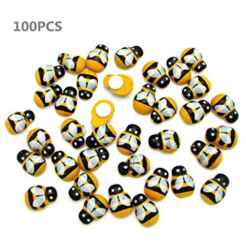 Unbekannt 100 stücke Mini Holz Biene mit Klebstoff Verzierungen Gemalt Flatback Holz Bienen für DIY Handwerk Dekoration Scrapbooking von TheBigThumb