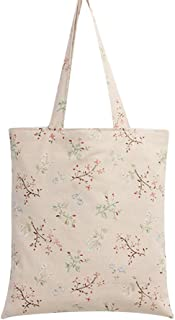 Caixia Women's Charming Floral Branch Canvas Tote Shopping Bag Beige