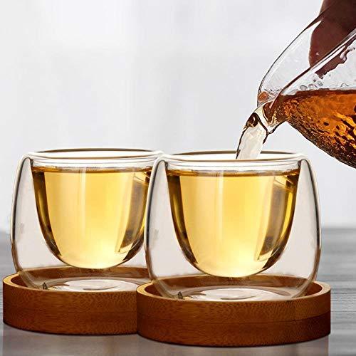 XCVB Dubbele Glaswerk Koffie Bekers met Lade Drinkende Thee Latte Koffie Mokken Whiskey Glazen Bekers Drinkwaren 80ml