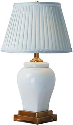 QFF Lampada da Tavolo in Ceramica Decorativa, Comodino del Soggiorno Lampada da Tavolo Blu Chiaro per la casa Lampada da Tavolo con Base in Metallo E27 Caldo (Colore : B, Dimensioni : 39 * 71CM)