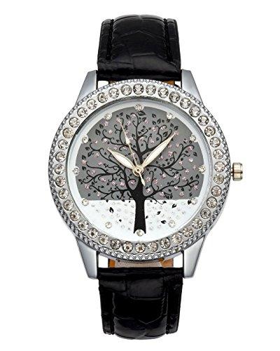 JSDDE Uhren, Elegant Damenuhr Strasssteine Lebensbaum Muster Armbanduhr Lederband Kleideruhr Fashion Analog Quarzuhr für Frauen Mädchen (Schwarz-Silber)