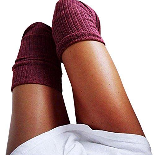 URSING Mädchen Damen Frau Schenkel Hoch Overknee Socken Lange Baumwollstrümpfe Warm Kniestrümpfe Schick Hochschule Elastisch Strümpfe Baumwolle Stricken Klassischer High Socks (60-80cm, Wein)