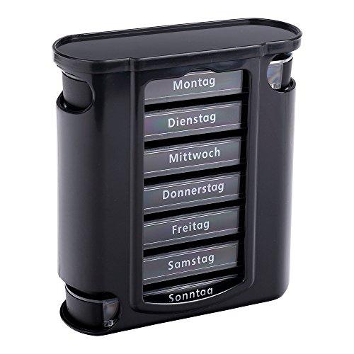 Schramm® Caja de Pastillas Negra con Deslizadores Negros Caja de Pastillas 7 días Caja de Pastillas Caja de Pastillas Puede dosificar semanalmente