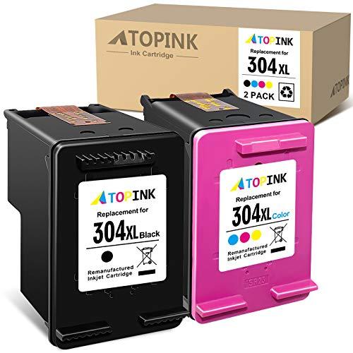 ATOPINK Cartucho de tinta remanufacturado para HP 304 304XL para HP Deskjet 2620 2621 2622 2623 2624 2625 2628 2630 2632 2633 2634 2652 2655 3720 Envidia 5 030 5020 5032 5050 (color negro)