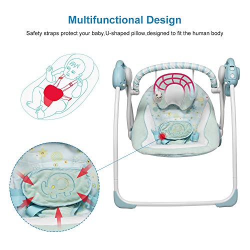 Baby Swing, IECOPOWER Electric Infant Swing for Baby Rocker Chair with Soft Seat and Plush Toys Portable Soothing Swings with Intelligent Music for 0-36 Months Infants - Blue