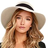 FURTALK Womens Beach Sun Straw Hat UV UPF50 Travel Foldable Brim Summer UV Hat(Large Size (22.4'-23'),Pure Beige)