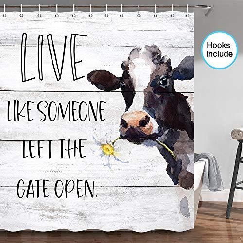 JAWO Duschvorhang, Kuh mit Gänseblümchen & lustigen Worten auf rustikalen Holzpaneelen, Kuh, Badezimmer, Duschvorhang, Stoff Bauernhof Duschvorhang-Haken, 177,8 cm