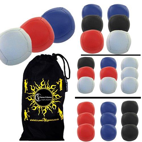 Thud Sport PRO 6 Jonglierbälle 3er Set - Profi Beanbag Bälle (PU) + Reisetasche! Zirkus Bälle zum Jonglieren Für Anfänger und Profis! (Blau / Rot / Weiß) (115g Jeder)