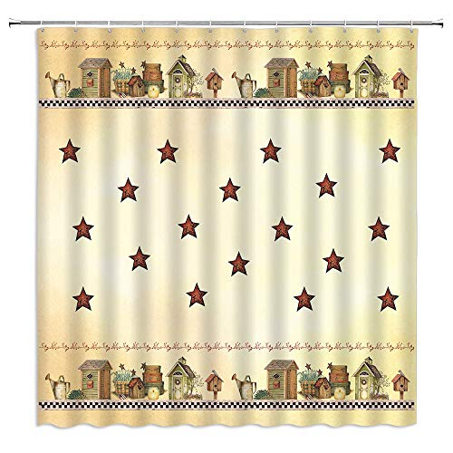 BOYIAN Rustic Country Star Shower Curtain Outhouse Primitive Farmhouse Old Cabin Watering Can Plant Vintage Farm Olive Fabric Bath Curtains Bathroom Polyester with Plastic Hooks 71x71Inch