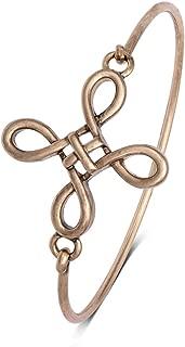 Easy Open Antique Celtic Knot Cross Bangle Bracelet for Women