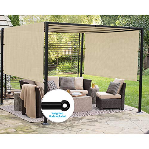 Patio Outdoor Shade Universal Replacement Pergola Canopy Shade Cover 10'X16' Beige with Grommets 2 Sides Weighted Rods Included Shade Screen Panel for Balcony Deck Porch