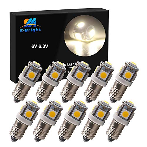 EverBright E10 Led Bulb Flashlight Bulbs 1447 1446 1449 Screw Bulb Replacement for Torch Flashlight Toy Car Bicycle Headlight, 5050 Chipsets, Warm White, DC 6V 6.3V, Pack of 10