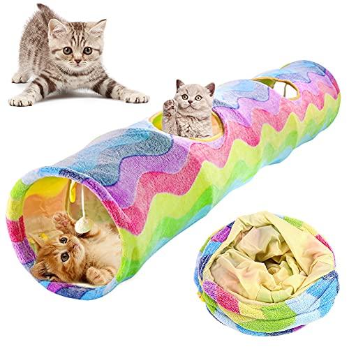 VOOPH 猫 トンネル ハウス キャットトンネル ペットとんねる おもちゃ 折りたたみ式 収納便利 安全素材 ボールに付き ストレス解消 遊び道具 キャット玩具 2穴 プレイトンネル 猫玩具 猫おもちゃ 中大型猫使え ?ストレス発散 運動不足 対策 ペッ