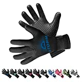 BPS 3mm Neoprene Dive Gloves with Anti Slip Palm - Five Finger Gloves for Sailing, Spearfishing, Paddleboarding, and Other Water Activities - for Men and Women (Black/Snorkel Blue, Small)