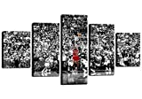 TWO J MichaelJrodan Poster Art NBA Stars Paintings 5 Piece Canvas Basketball Sports Picture Artwork for Living Room Prints Wall Decor Decoration Wooden Framed Ready to Hang [60''W x 32''H]