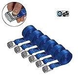 Correa de amarre cinturón de amarre con hebilla - azul - 2,5m 4m 6m - diferentes cantidades resistente a 250 kg DIN EN 12195-2, 6 piezas - 2.5 cm x 4 m