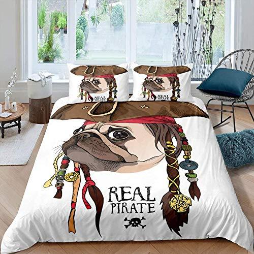 Dvvseso 3D Animal cute pug pirate dog Printed Bedding(No Comforter and Sheet) Set for Kids Teen Boys - (3Pcs,1 Duvet Cover+2 Pillow Shams,King size 240 x 220 cm) -Fashion duvet cover
