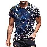 EUCoo Camisetas de manga corta para hombre, ligeras y con cuello redondo, para salón, gráficos retro, entrenamiento muscular, atletismo, camiseta, azul, XL