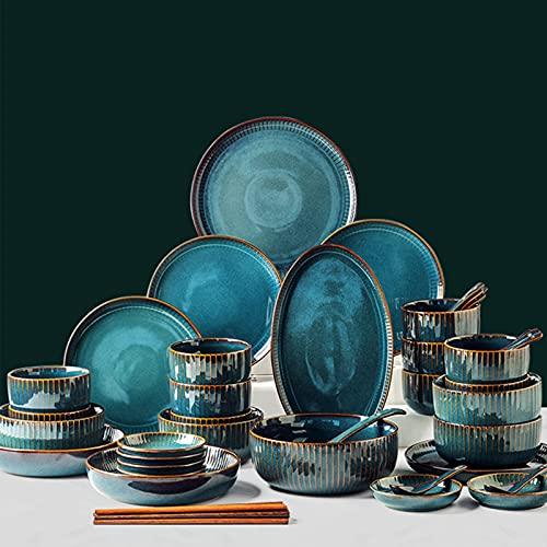 Juegos de vajilla,vajilla de cerámica de lujo ligero con platos de cena Platos de postre de ensalada Servicio de tazones de cereales para el hogar,regalos de inauguración de la casa de vacaciones