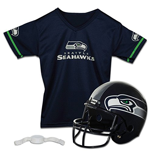 Franklin Sports NFL Seattle Seahawks Kids Football Helmet and Jersey Set - Youth Football Uniform Costume - Helmet, Jersey, Chinstrap - Youth M