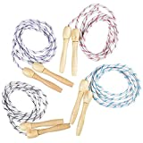 ArtCreativity 7ft Skipping Rope for Kids, Set of 4, Durable Jumping Rope with Wooden Handles and...