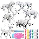 Kit Pintura Dinosaurios, ZoneYan Juguetes de Animales para Niños, Pintar Dinosaurios Animales, Juguetes de Dinosaurio 3D, Juego Dinosaurios 3-10 años (Animal Kit)